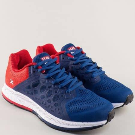 Мъжки маратонки с частичен принт в червено и синьо 323914-45s