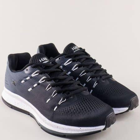 Черни мъжки маратонки с черни и бели връзки- Knup 324013-45ch