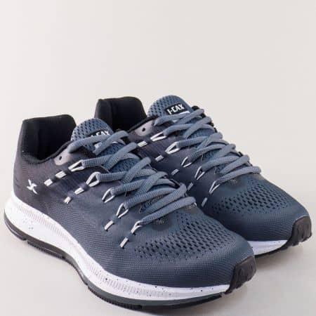 Мъжки маратонки Knup в сив цвят на комфортно ходило 324015-45sv
