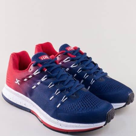 Мъжки маратонки с връзки в синьо и червено- Knup  324016-45s