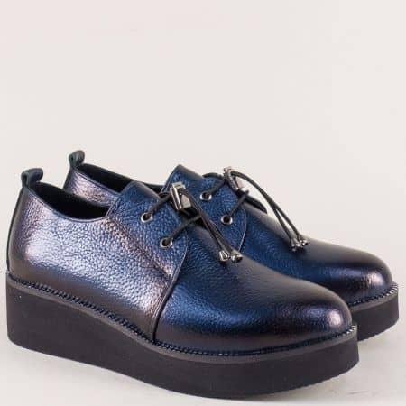 Кожени дамски обувки с ластични връзки в син цвят 324364s