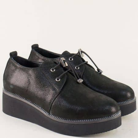 Черни дамски обувки на платформа с ластични връзки 324364ch