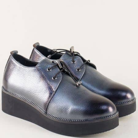 Сиви дамски обувки на платформа от естествена кожа 324364ss