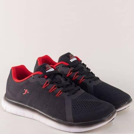 Мъжки маратонки- KNUP в черен цвят на бяло ходило 3249-45ch