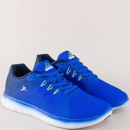 Сини мъжки маратонки Knup на равно ходило с връзки 3249-45s