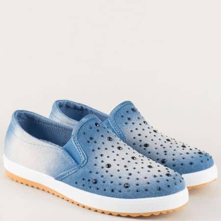 Ежедневни дамски обувки в синьо на платформа 325003ds
