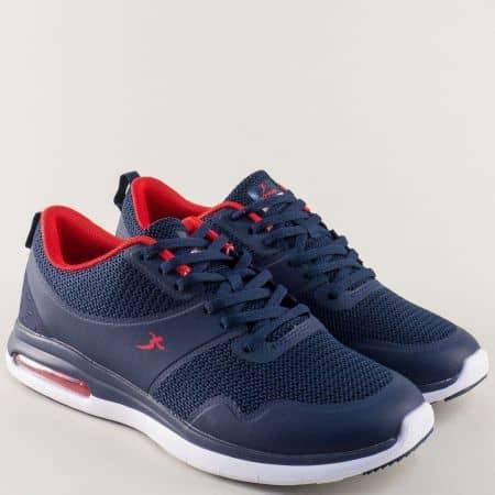 Мъжки спортни обувки с връзки в тъмно син цвят- Knup  32514-45s
