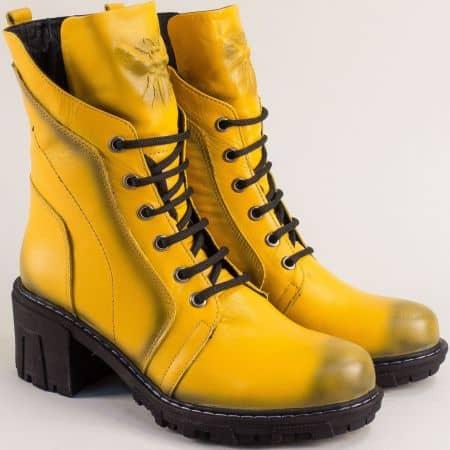 Дамски жълти боти естествена кожа на ток 32535j