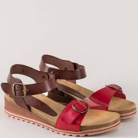 Испански дамски сандали в тъмно кафяво и червено 3254chv