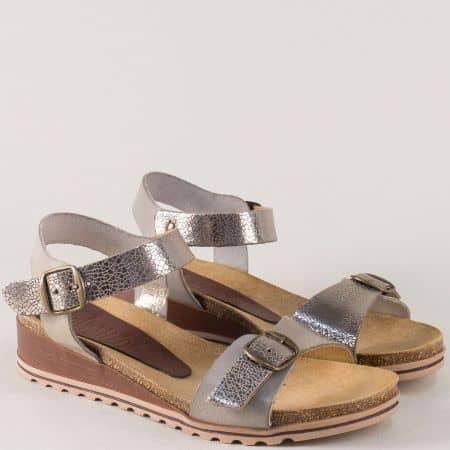 Сребърни дамски сандали на платформа с кожена стелка 3254sv