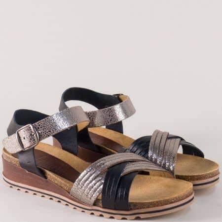 Испански дамски сандали на платформа в бронз и черно 3255ch