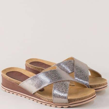 Сребърни дамски чехли на платформа от естествена кожа 3256sv