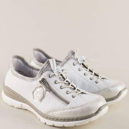 Бели дамски обувки на анатомично, шито ходило- Rieker 3263b