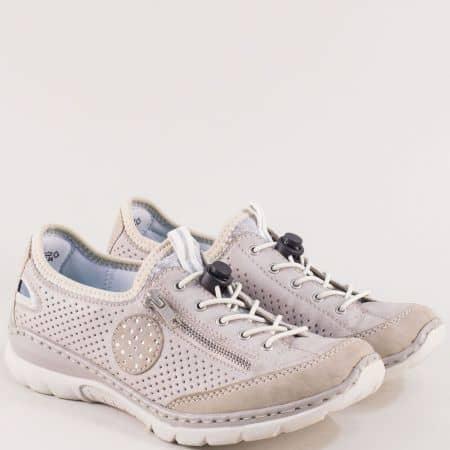 Бежови дамски обувки с перфорация и ластични връзки 3266bj