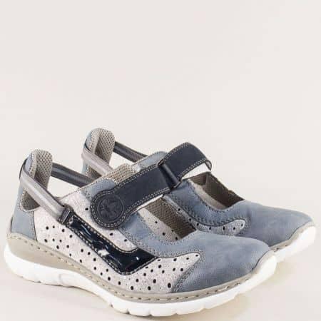 Дамски обувки в бежово, сиво и синьо с Memory пяна 32712sps