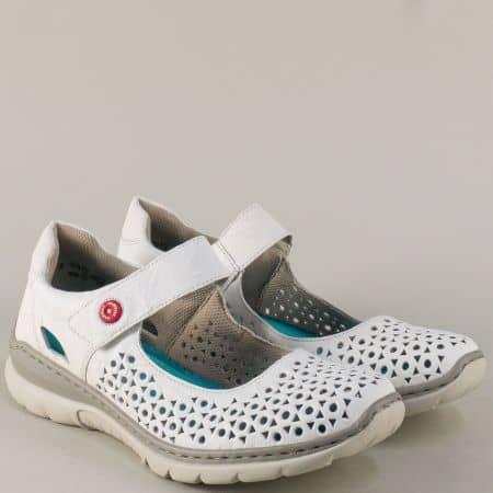 Дамски обувки от бяла естествена кожа с Memory пяна 3285b