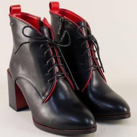 Черни дамски боти с червени детайли на висок ток 329642chchv