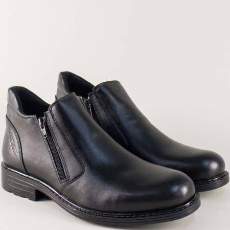 Черни мъжки боти от естествена кожа на комфортно ходило с два ципа 32ch