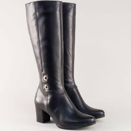 Дамски ботуши на ток от естествена кожа в черен цвят 330061ch