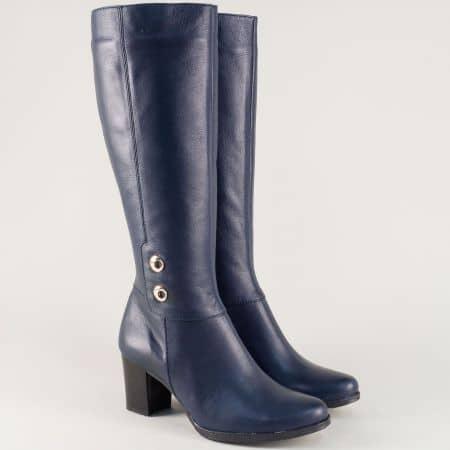 Дамски ботуши на среден то кот синя естествена кожа 330061s