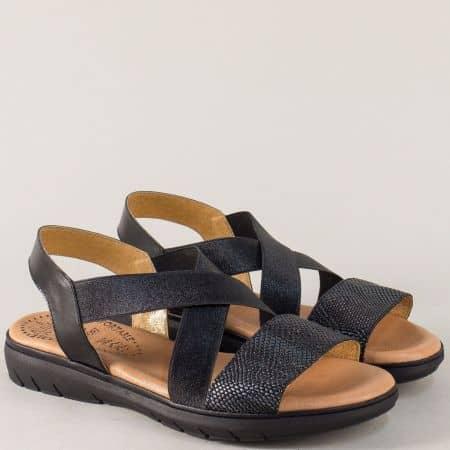 Испански дамски сандали в черен цвят с кожена стелка 3307ch