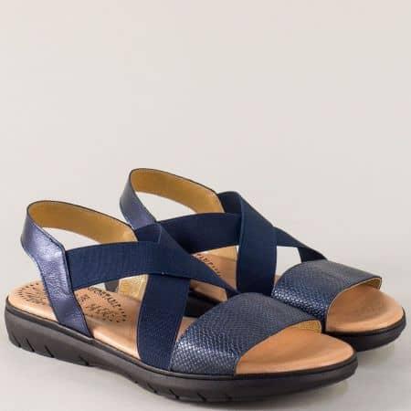 Сини дамски сандали с два латика от естествена кожа 3307s