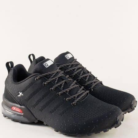 Черни мъжки маратонки с връзки и въздушна камера 3324-45ch