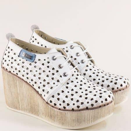 Бели дамски обувки на платформа от естествена кожа 334174b