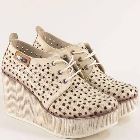 Бежови дамски обувки с перфорация от естествена кожа 334174bj