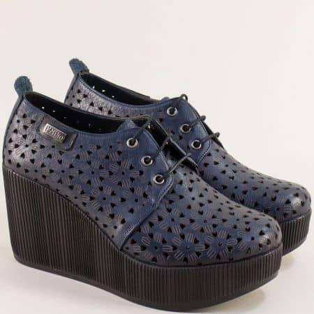 Тъмно сини дамски обувки на платформа от естествена кожа 334174s