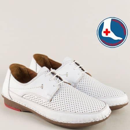 Ортопедични дамски обувки от бяла естествена кожа 3343b