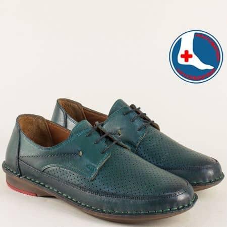 Перфорирани мъжки обувки на шито ходило в зелен цвят 3343z