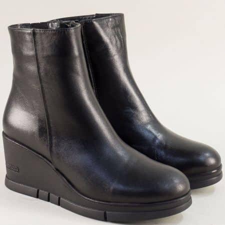 Черни дамски боти на платформа от естествена кожа  3348571ch