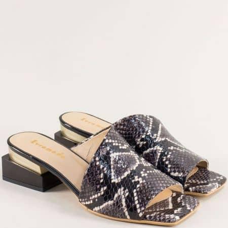 Черни дамски чехли със змийски принт на среден ток 3355007zch
