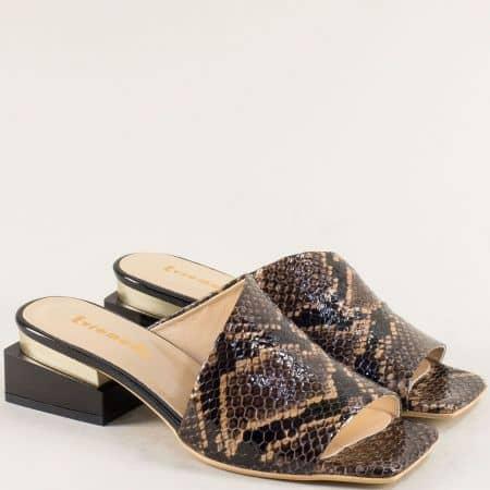 Ефектни дамски чехли от естествена кожа на моден ток 3355007zk