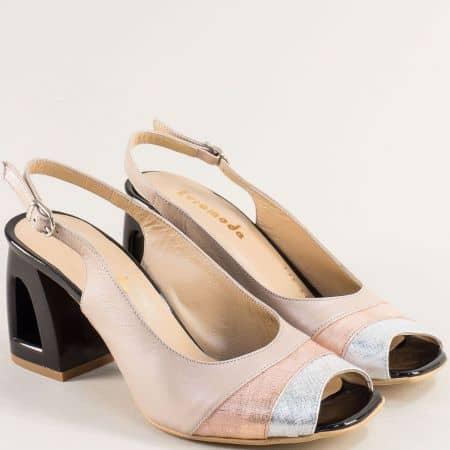 Кожени дамски сандали на ефектен висок ток в бежово 3355015bjps