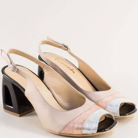 Бежови дамски сандали от естествена кожа на висок ток 3355015bjps