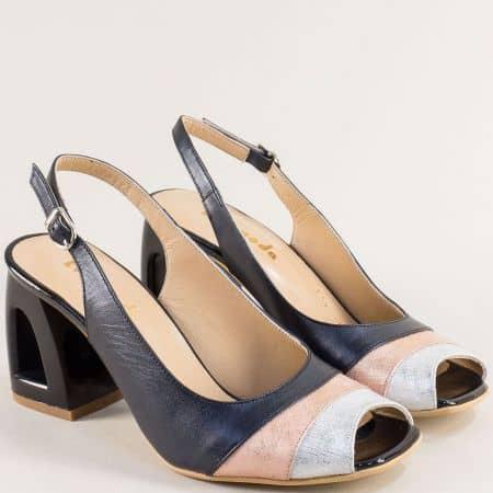 Сини дамски сандали от естествена кожа на висок ток 3355015sps