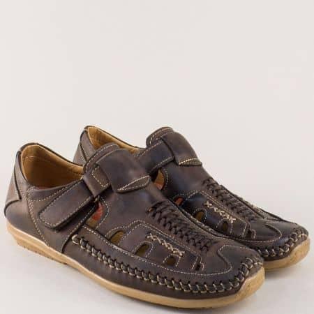 Шити мъжки сандали от кафява естествена кожа с лепка n335kk