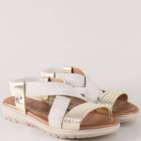 Испански дамски сандали в златист и бежов цвят на равно и комфортно ходило 3364zl
