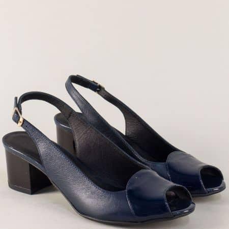 Дамски сандали в син цвят със стелка от естествена кожа 339051ls