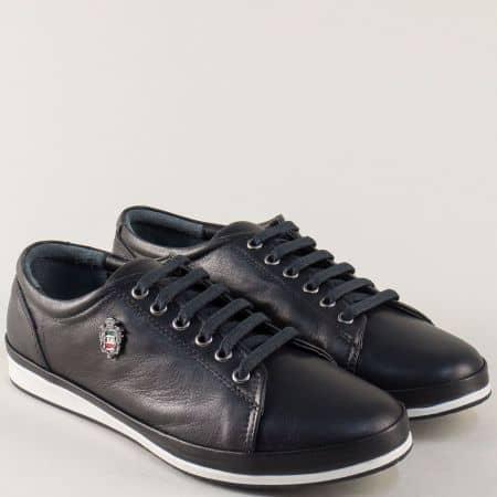 Равни дамски обувки с връзки от черна естествена кожа 339ch