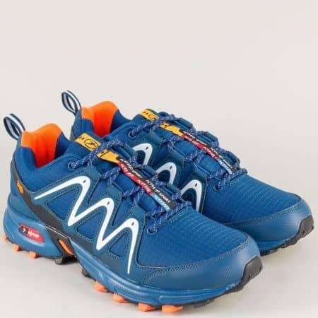 Сини мъжки маратонки на равно ходило с връзки 34163s