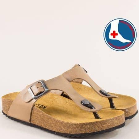 Ортопедични дамски чехли от естествена кожа в кафяв цвят  341671k