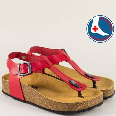 Кожени дамски сандали в червен цвят с велурена стелка- PLAKTON 341676chv