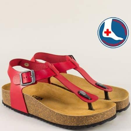 Червени дамски сандали на ортопедично корково ходило 341676chv