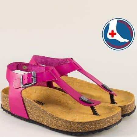 Цикламени дамски сандали с велурена стелка- PLAKTON 341676ck