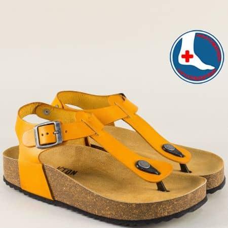 Жълти дамски сандали на ортопедично ходило 341676j