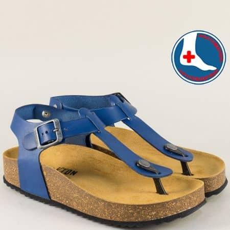 Кожени дамски сандали в синьо с велурена ортопедична стелка- PLAKTON 341676s