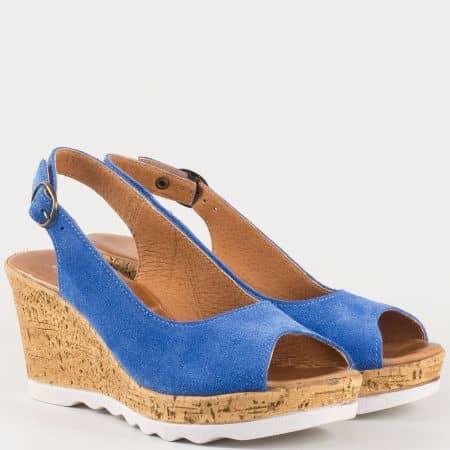 Дамски сандали на комфортно клин ходило от естествен велур в син цвят- български производител  341963vs